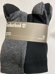 NEW 10 Pair Pack TIMBERLAND mens crew socks BLACK & GRAY  comfort cuff size 6-12