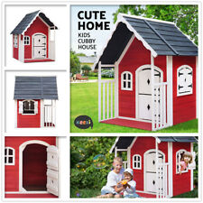 Kids Cubby House Wooden Cottage Outdoor Furniture Playhouse Veranda Backyard New