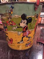 SCARCE CHEIN I930's MICKEY MOUSE , MINNIE & KRAZY KAT HUGE TIN LITHO SAND PAIL