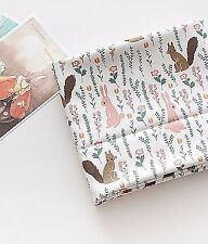 BY HALF YARD Forest Animals 100% Cotton Fabric Rabbit Squirrel Flowers HB164+