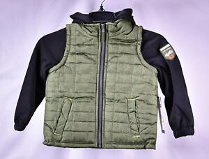 iXtreme Little Boys Tonal Print Vest W/Fleece Hood & Sleeves - OLIVE