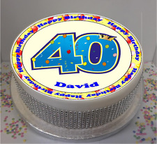 """Novelty Personalised 40th Birthday Balloons 7.5"""" Edible Icing Cake Topper party"""