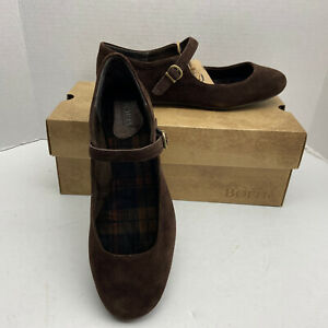 BORN Arnor Mary Jane Suede/leather womens shoes size 9M STUNNING! New Dark Brown