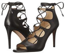 Coach Kira Black Leather Lace Up High Heels UK  EU 39 LN28 72