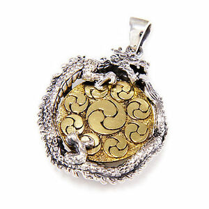 BRASS YIN & YANG MEDALLION - DRAGON 925 STERLING SILVER BIKER PENDANT gb-161