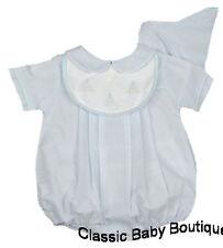 NWT Petit Ami Blue Sailboat Bib Romper Preemie Hat Baby Boys Bubble
