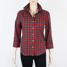 Pink Womens Size S Red Grey Check 3 Qtr Sleeve Shirt