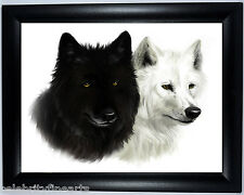 Black & White Wolves Picture Photo Framed Gift Picture Poster Print for Wolf Fan