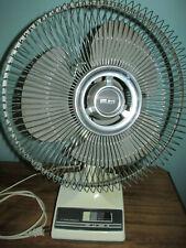 "Vintage Gray GALAXY 12"" OSCILLATING 3 Speed Electric Table Room FAN Retro"