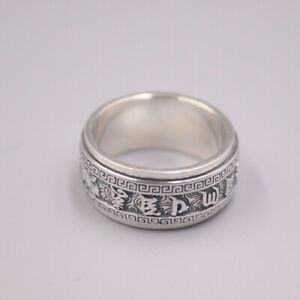 Pure 925 Sterling Silver 10mm Six-Words Buddhist Sutra Ring Band Size 7 to 12