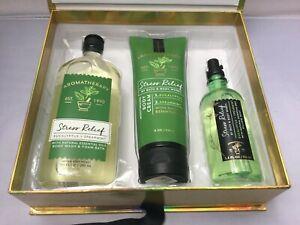 3pcs Set BATH & BODY WORKS Stress Relief Shower Gel, Cream, Pillow Mist Gift Box