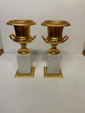 Pair Of Gilt Metal And Marble Urns