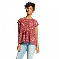 New Xhilaration Women's Floral Peplum Short Sleeve Lace-Up Blouse Shirt Top