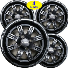 FOUR Golf Cart RIMs WHEELs 12x6 4/4 3+3 RHOX RX173 Vegas Matt Black Go Kart more
