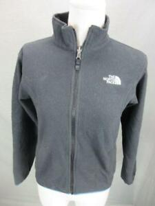 The North Face Size M(10-12) Boys Black Full Zip w/Pockets Fleece Jacket T953