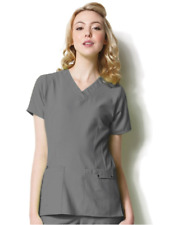 {SMALL} Easy Fit by WonderWink Women's Contoured V-Neck Solid Scrub Top PEWTER