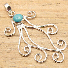 Girls Fashion Models, 925 Silver Plated Simulated LARIMAR HAMMERED Pendant NEW