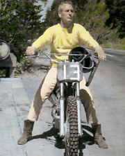 "PAUL NEWMAN HOLLYWOOD ACTOR DIRECTOR MOTORCYCLE 8x10"" HAND COLOR TINTED PHOTO"