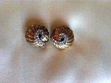 Jomaz Mazer Brushed Gold Tone Stacked Shell & Swirled Rhinestone Clip Earrings