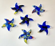 6 Blue Color Splashed Stars Lampwork Glass Beads 30mm by 30mm Star