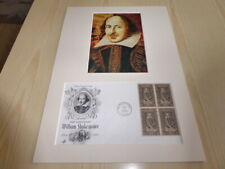 William Shakespeare photograph and original USA FDC mount size A4