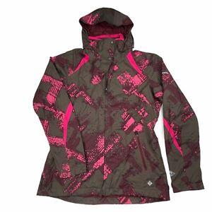 Columbia Womens S Bugaboo Rain Jacket Omni-Tech Gray Pink Print Hooded Full Zip