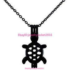 -H91 Black Turtle Pearl Beads Cage Stainless Locket Necklace