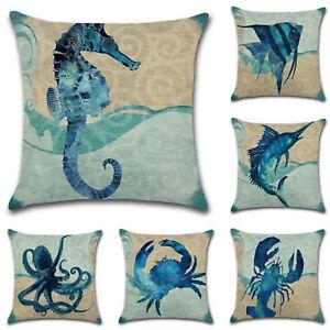 """18/"""" Sea Life Printed Pillow Case Sofa Car Throw Waist Cushion Covers Home Decor"""