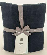 NWT west elm Belgian Linen king sheet set, midnight navy blue