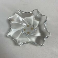 Baccarat French Clear Crystal Glass Art Candy Nut Dish Ashtray Swirl Flower