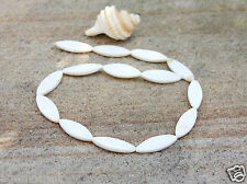 13 White mother of pearl Shell marquise beads 28/29x10mm,Craft Beading  New