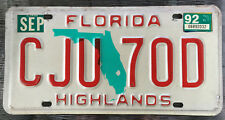 """👮👮 🌟🌟 AUTHENTIC USA 1992 FLORIDA """"HIGHLANDS COUNTY"""" LICENSE PLATE."""