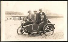 MOTORCYCLISTS. VINTAGE  SIDECAR #BJ688.. REAL PHOTO. OLD POSTCARD