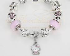 17cm Cute Cat Hallo Kitty & Hearts Charms Children Small Girl Silver Bracelet