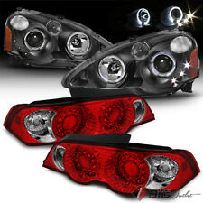 For 02-04 RSX DC5 Red Clear CCFL Halo Projector Headlights + LED Tail Lights