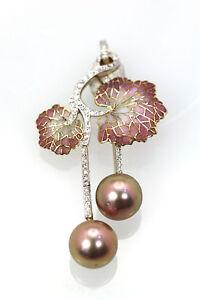 Plique a Jour Diamond & Pearl Flower Pendant 18K Yellow Gold