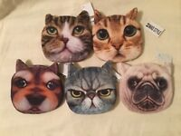 Mad Style Cat or Dog Fuzzy Zipper Pouch/Coin Purse