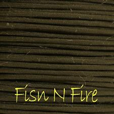 PARACORD 550 TYPE 3 - 7 STRAND PARACHUTE CORD - OLIVE DRAB FISH N FIRE - 100FT
