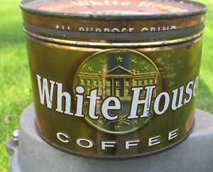 Vintage White House Gold Coffee Key Wind Tin Can Advertising Display Rare