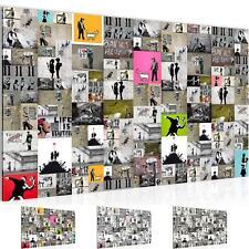Wandbild XXL Modern Wohnzimmer - Collage Banksy  Bunt - Schlafzimmer Deko Bilder