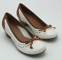 Hotter Fontana White & Tan Leather Shoes Size 3 UK New Without Box