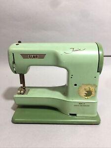 Vintage Elna Junior Hand Crank Sewing Machine W/ Case Made in Switzerland
