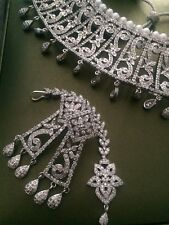 Indian wedding jewellery set Silver Plated CZ Choker Necklace Tika Pearl