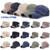 Mens Womens Plain Army Military Baseball Cap Cadet Trucker Adjustable Sun Hat
