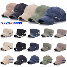 Fashion Men Women Adjustable Classic Army Plain Hat Cadet Military Baseball Cap