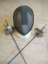 Vintage Castello Fencing Helmet & 2 Swords Lot pistol grip handle/apee/ man cave