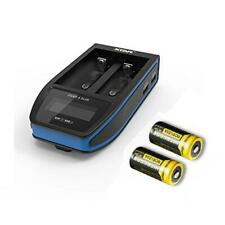 Combo: Xtar Over 4 Slim Battery Charger - 2 Port - 2x Nl166650mAh 16340Recharg