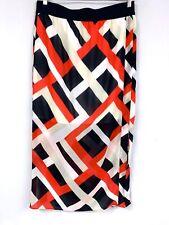 ANN TAYLOR  maxi skirt lightweight L EUC  Red Blue Tan Summer Lined