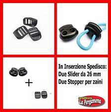 FIBBIA ricambio zaino slider plastica per spallacci cinghie 2 PZ.+ 2 STOPPER