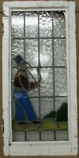 """LARGE OLD ENGLISH LEADED STAINED GLASS WINDOW Man Smoking a Pipe 15.5"""" x 32.5"""""""